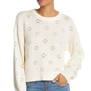 Madewell Ivory Floral Pointelle Pullover S…
